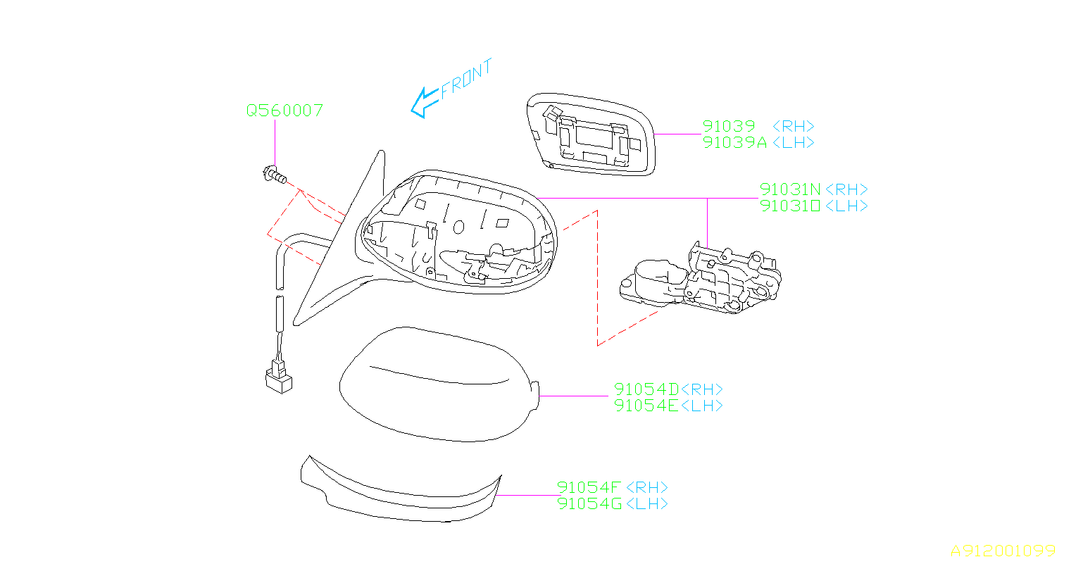 subaru mirror lower parts left rear cap right unit door diagram