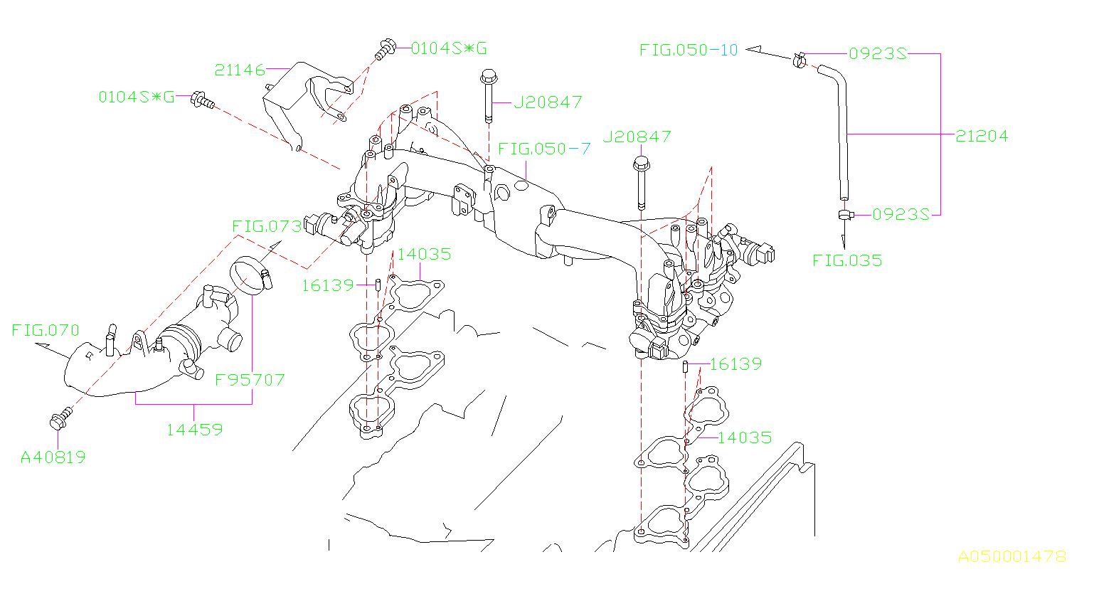 2004 Subaru Forester Engine Coolant Hose. INTAKE, MANIFOLD ...